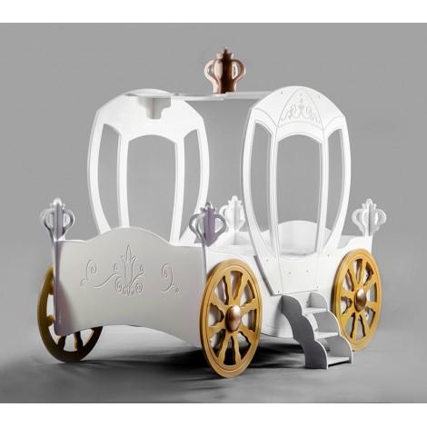 lit cendrillon en forme de caleche en mdf pour fille avec reseau et matelas mod princess carriage