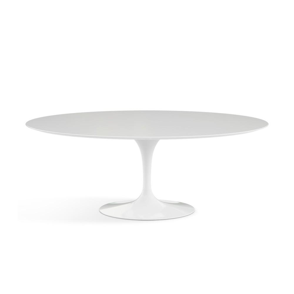 reedition fidele de la table oval tulip d eero saarinen avec plateau en marbre de carrare ou en stratifie