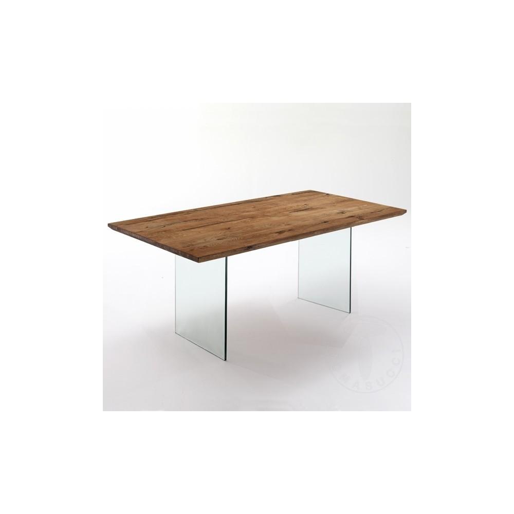 table a manger float de tomasucci avec structure en verre et plateau en bois massif