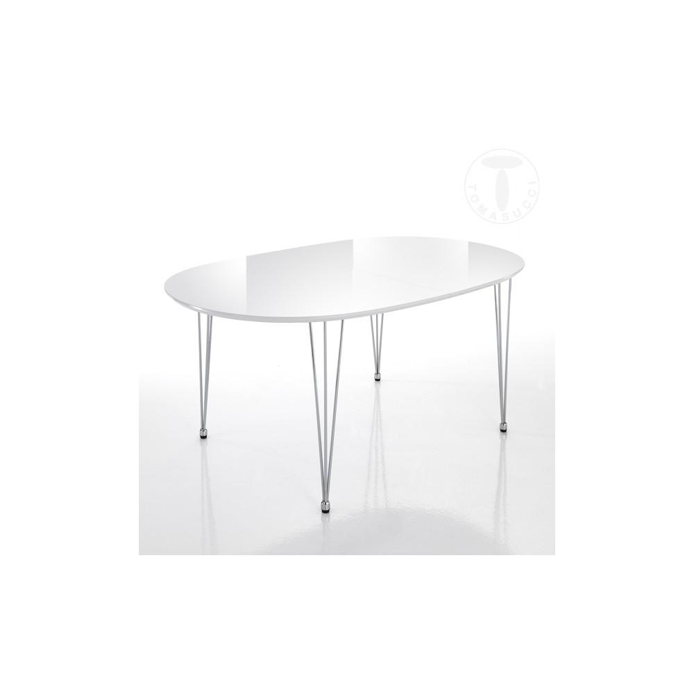 elegante table extensible ovale de tomasucci avec structure en acier inoxydable et plateau en md blanc brillant