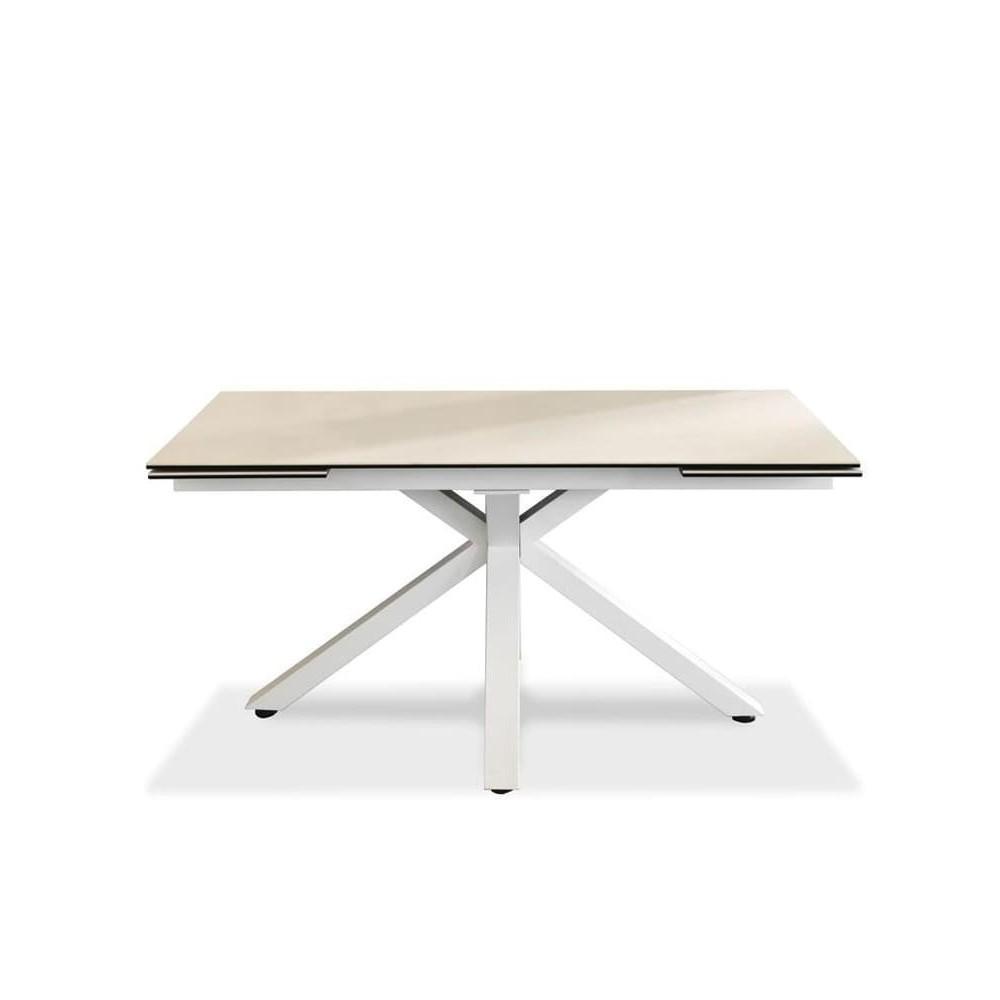 table en ceramique 1 extensible jusqu a 240 cm avec pieds en metal croises et plateau en ceramique trois finitions disponibles