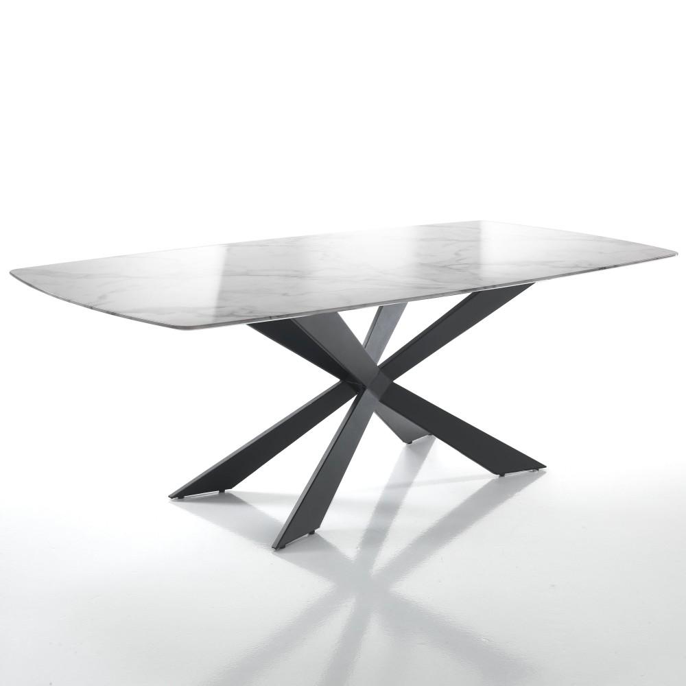 table fixe tips de tomasucci avec structure en metal peint noir et plateau effet marbre