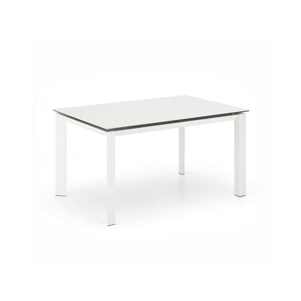 table extensible account pieds en metal et plateau en ceramique et verre egalement effet marbre