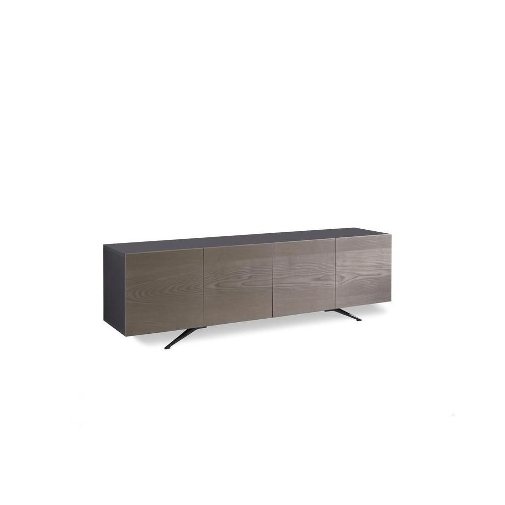 buffet ou meuble tv avec 4 portes pegaso by stones en melamine noir avec portes plaquees chene gris