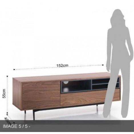 meuble tv piet de tomasucci en bois mdf et pieds en metal noir mat