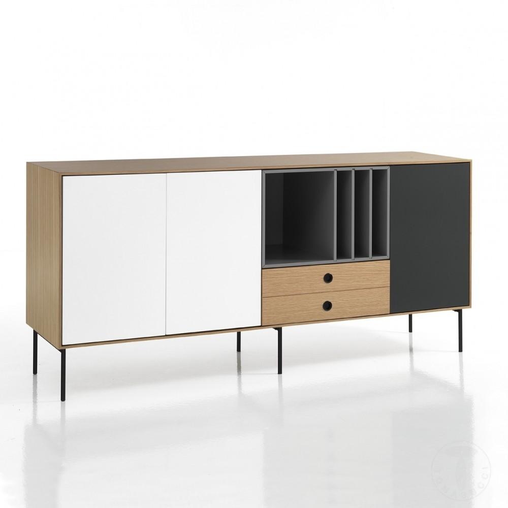 buffet ou meuble tv haut hero en bois mdf avec portes amorties et fermetures push and pull