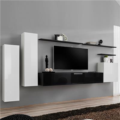 meuble tv suspendu blanc et noir solendro