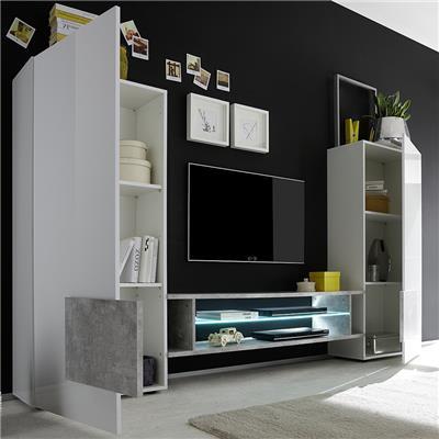 ensemble meubles tv blanc laque brillant et couleur bois eros 2