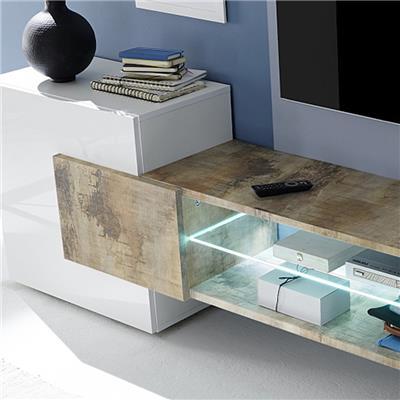 meuble tv moderne blanc laque brillant et couleur bois eros 2