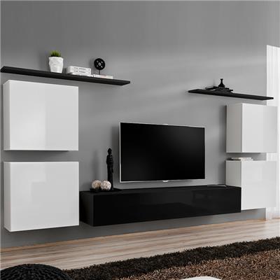 meuble tv mural blanc et noir donatello