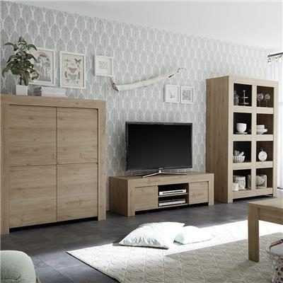meuble tele contemporain 140 cm couleur chene clair agathe