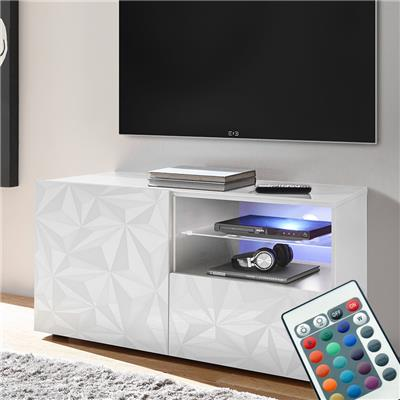 meuble tv lumineux 120 cm blanc laque design nino