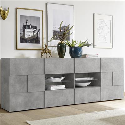 enfilade 240 cm design grise effet beton dominos 4