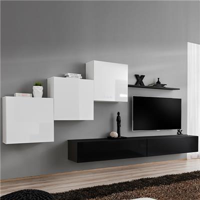 meuble tv suspendu blanc et noir duccio