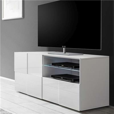 petit meuble tv blanc laque brillant dominos