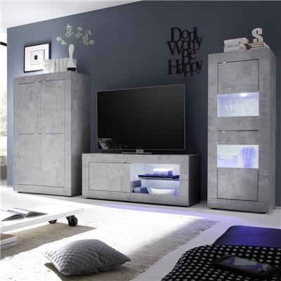 meuble tv lumineux 140 cm design effet beton gris ariel 4
