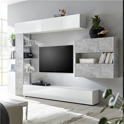 ensemble meubles tv blanc et beton soprano 2