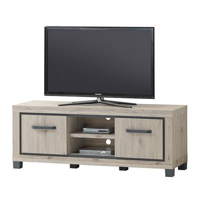 meuble television 110 cm couleur chene naturel et gris elorane