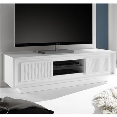 meuble tv blanc laque mat avec motifs rayures tanguy