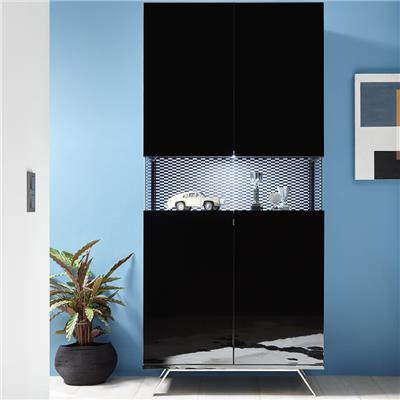 vaisselier noir laque design lumineux palermo 7