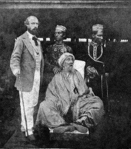 Last Mughal Emperor Bahadur Shah II with sons Mirza Jawan Bakht & Mirza Shah Abbas