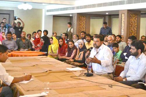 After Flash Back: Kashmir Story  Since 1846 was released by Kashmiri youth, Zahir-ud-Din deliberating on his book. Pic  Courtesy :  Tayzeem Sofi