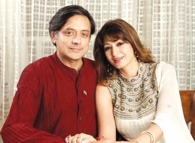 Shashi Tharoor and his Kashmiri wife Sunanda Pushkar.