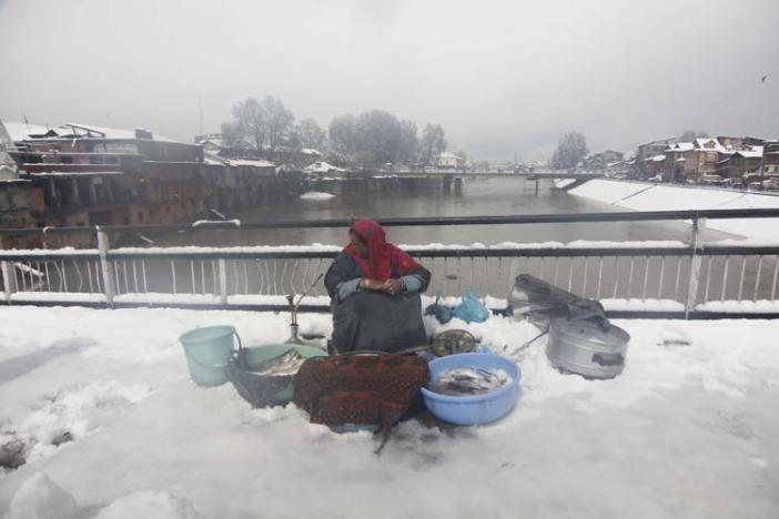 Survival strength: In a momentarily hiatus in snowfall, a lady selling fishes on Amira Kadal bridge in Srinagar