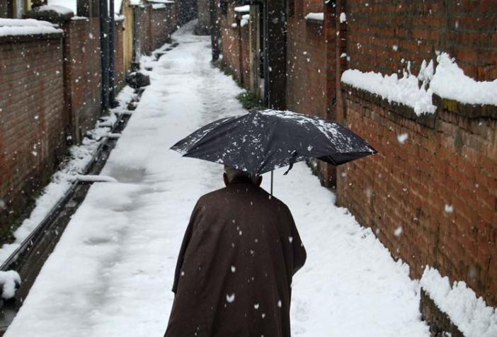 Senile stroll: An elderly man walking down the alley in Srinagar