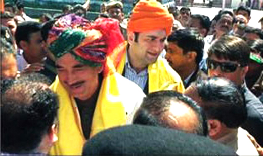 Ghulam Nabi Azad with his son during a poll campaign in Udhampur constituency.
