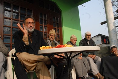 Dr Haseeb Drabu addressing people in Arihal village of Rajpora constituancy.