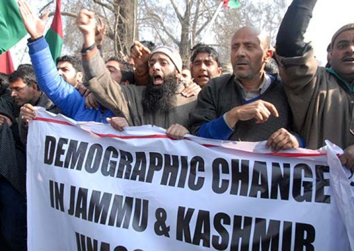 Second time MLA - elect from North Kashmir's Langate constituency Er. Rasheed leading a protest against concessions to WP refugees in Srinagar. Pic: Bilal Bahadur