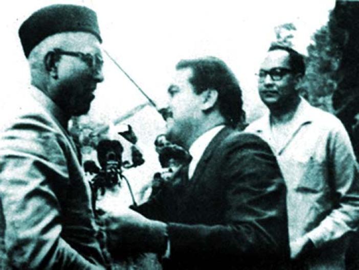 Sheikh Abdullah being received by PaK premier K H Khursheed at Chaklala Airport in Rawalpandi outskirts in 1964.