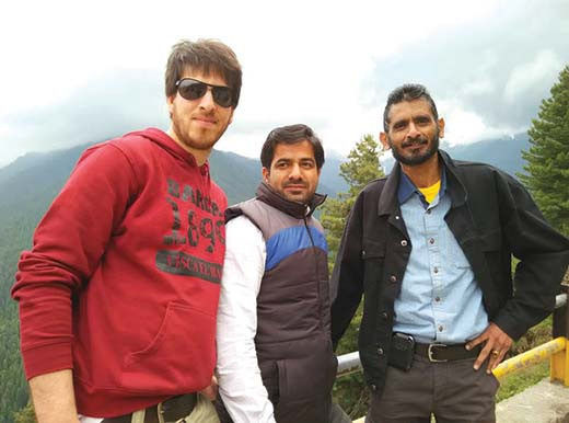 Prof R Raj Rao (extreme right) with two  of   his students at Gulmarg.