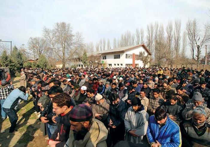 People in large numbers attend Manzoor's funeral-in-absentia at Rawalpora.