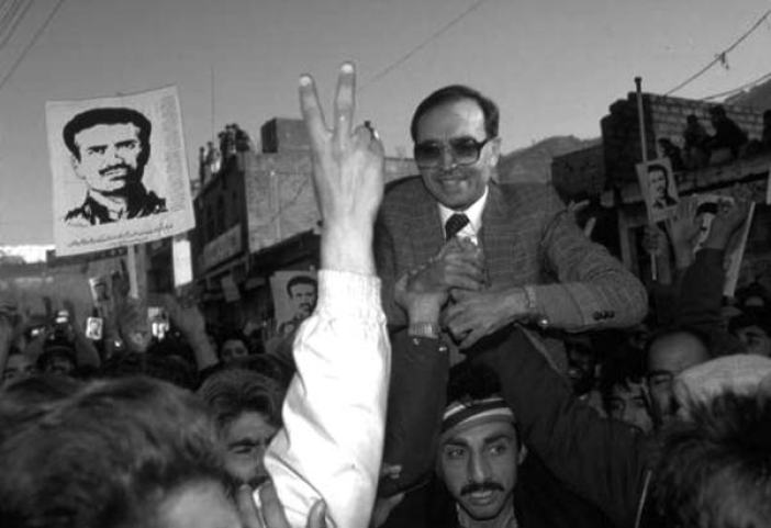 Amanullah Khan during a JKLF rally .