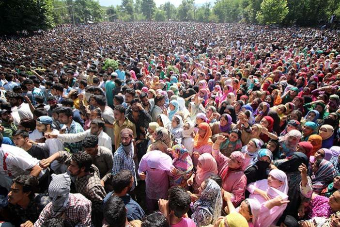 Women mourning Burhan's demise in his hometown Tral.