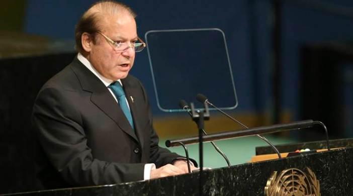 Pak Premier Nawaz Sharif speaks during the 71st session of the UN General Assembly on Sept. 21, 2016. (AP Photo/Seth Wenig)