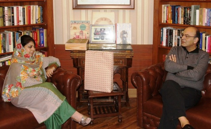 Mehbooba Mufti with Arun Jaitely in Delhi