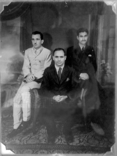 Prof Malik Ud Din with Abdul Aziz Bhat (R) and GR Azad (L).