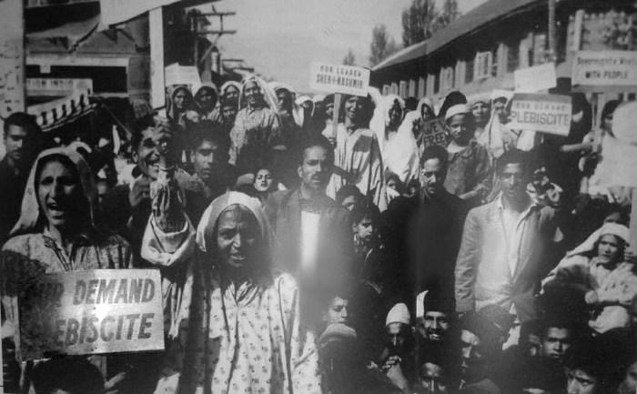 Kashmiri women spearheading a rally demanding plebiscite