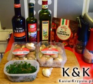 składniki na grzyby z pomidorami