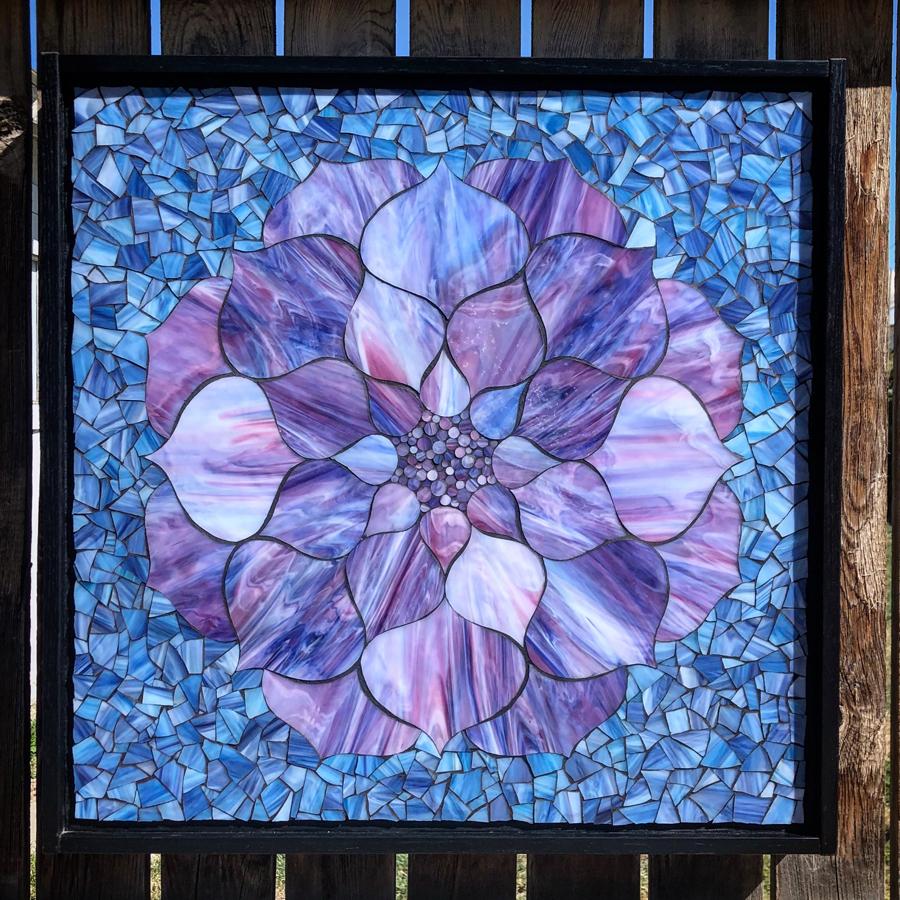 Purple Lotus Flower On Blue Super Sale Kasias Art Shop