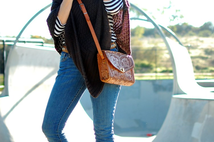 poncho thrift stripes black white gray brown turtleneck ootd outfit whatiwore2day
