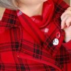 plaid red pattern mix scarf disney buttons pins ootd whatiwore2day