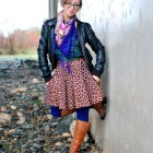 leopard plaid floral pattern mix scarf black and navy ootd whatiwore2day
