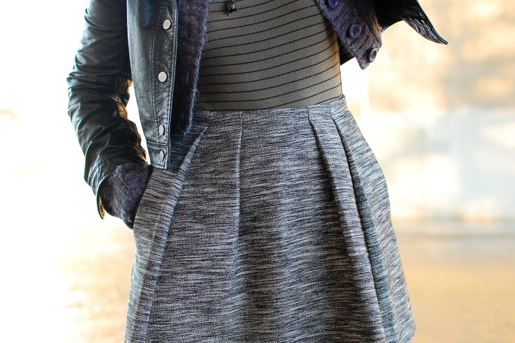 faux fur leather jacket ootd outfit stripes olive black white whatiwore2day