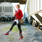 western cowgirl red black white boots cutoffs train style fashion ootd