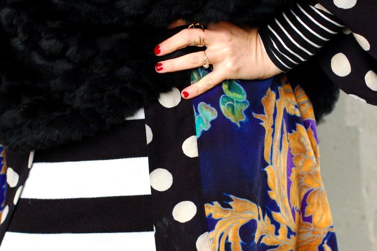 stripe polka dot pattern mix outfit ootd black white navy