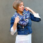 scarf denim jacket style white sweater tunic ootd whatiwore2day